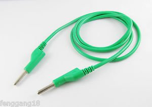 Copper High Voltage Silicone Cable Banana Male Plug To Banana Plug 1m/3ft Green