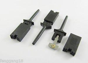 50x Single Hook Clip Flat Mini Grabber Test Probe f SMD IC Multimeter DIY Black