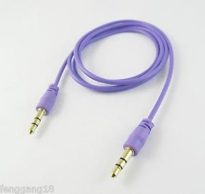 "10x Purple 3.5mm 1/8"" Male to Male Stereo Audio Aux Cord Extension Cable 1m Gold"