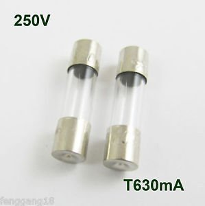 100 Pcs Glass Tube Fuse 5 x 20mm T630mA 630mA 0.63Amps T0.63A 250V Slow Blow