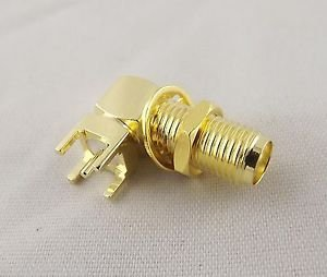 10Opcs SMA Female Jack Thru Hole PCB Mount Bulkhead Right Angle RF Connector