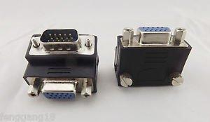 10x Full 15 Pin VGA Male/Female Right Angle SVGA Adapter Converter Connector