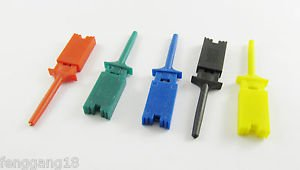 50x Single Hook Clip Flat Mini Grabber Test Probe SMD IC Multimeter 5 Colors DIY