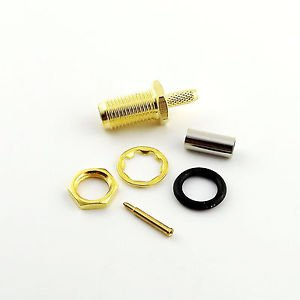 RP-SMA Female Straight w/Nut Bulkhead O-ring Crimp RG174 RG316 RG188 Connector