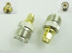 2Pcs UHF SO-239 Female Jack to SMA Male Plug Straight RFAdapter Connector New
