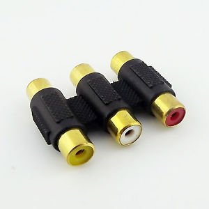 10x Triple 3 RCA Female to 3 RCA Female GOLD AV Video Audio Connector Adapter