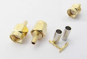 50x SMA Male Plug Straight Crimp for RG174 RG179 RG316 RG188 Cable RF Connector