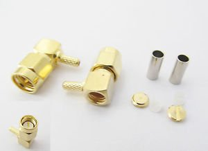 100x SMA Male Right Angle Crimp RG174 RG316 RG179 RG187 RG188 Cable RF Connector