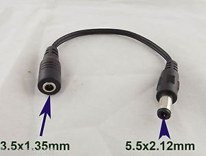 10x 5.5x2.1mm Male to 3.5x1.35mm Female CCTV DC Power Plug Jack Converter Cable