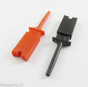 100x Single Hook Clip Flat Mini Grabber Test Probe f SMD IC Multimeter Black Red