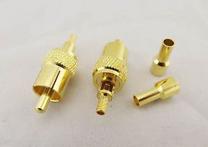 10x RCA Phono AV Male Plug Crimp Connector for RG174 RG316 LMR100 RF Audio Video