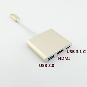 USB-C 3.1 Type C to USB 3.0 HDMI AV Type C Female 3 in 1 Adapter for Macbook 12""