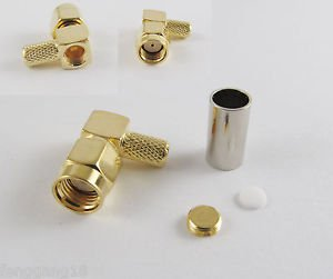RP-SMA Male Right Angle Female Pin Crimp RG58 RG142 LMR195 Cable RF Connector