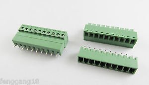50x 10 Pin/Way Pitch 3.81mm Screw Terminal Block Connector Green Pluggable Type