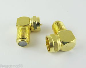 50 Gold F Male Plug to F Female Jack Right Angle Coaxial TV RF Adapter Connector