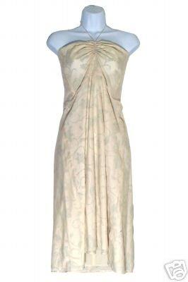 NEW J CREW IVORY FLORAL EMBOSSED BEACH HALTER DRESS 10