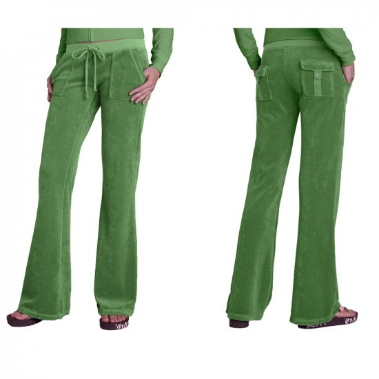 NEW JUICY COUTURE GREEN TERRY PATCH POCKET PANTS - M