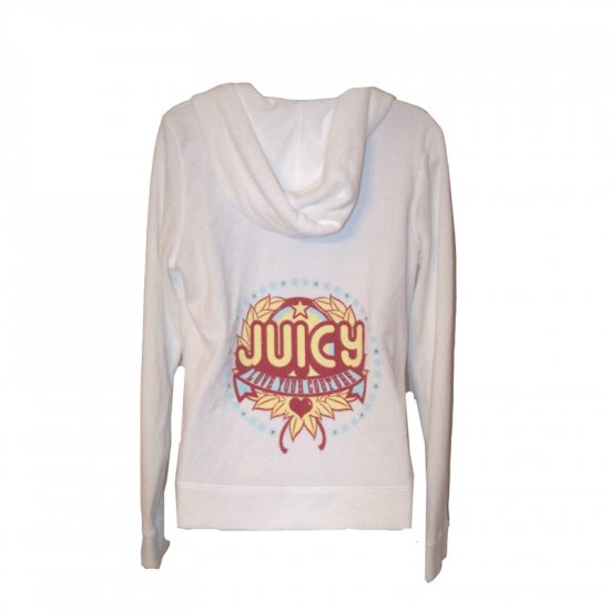 JUICY COUTURE WHITE TERRY LOVE YOUR COUTURE HOODIE - L