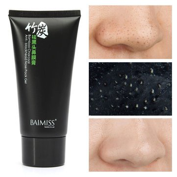 BAIMISS Bamboo Charcoal Facial Blackhead Removal Mask Astringent Pore Cleaning Nose Comedo