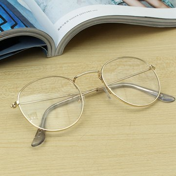 Retro Vintage Oval Transparent Golden Eyeglass Frame Steel Legs Glasses Spectacles Metal Frame