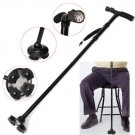 LED Light Sturdy Folding Elder Walking Stick Four Heads Pivoting Trusty Base Stretchable Cane