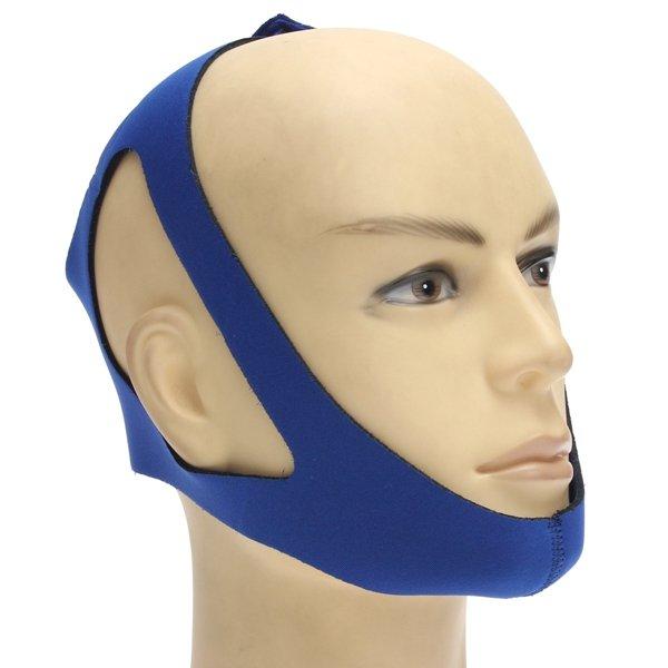 Blue Anti Snoring Chin Strap Snore Stopper Sleep Belt Brace Device