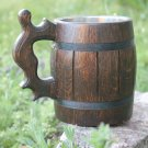 Dark wooden beer mug with metal cup inside