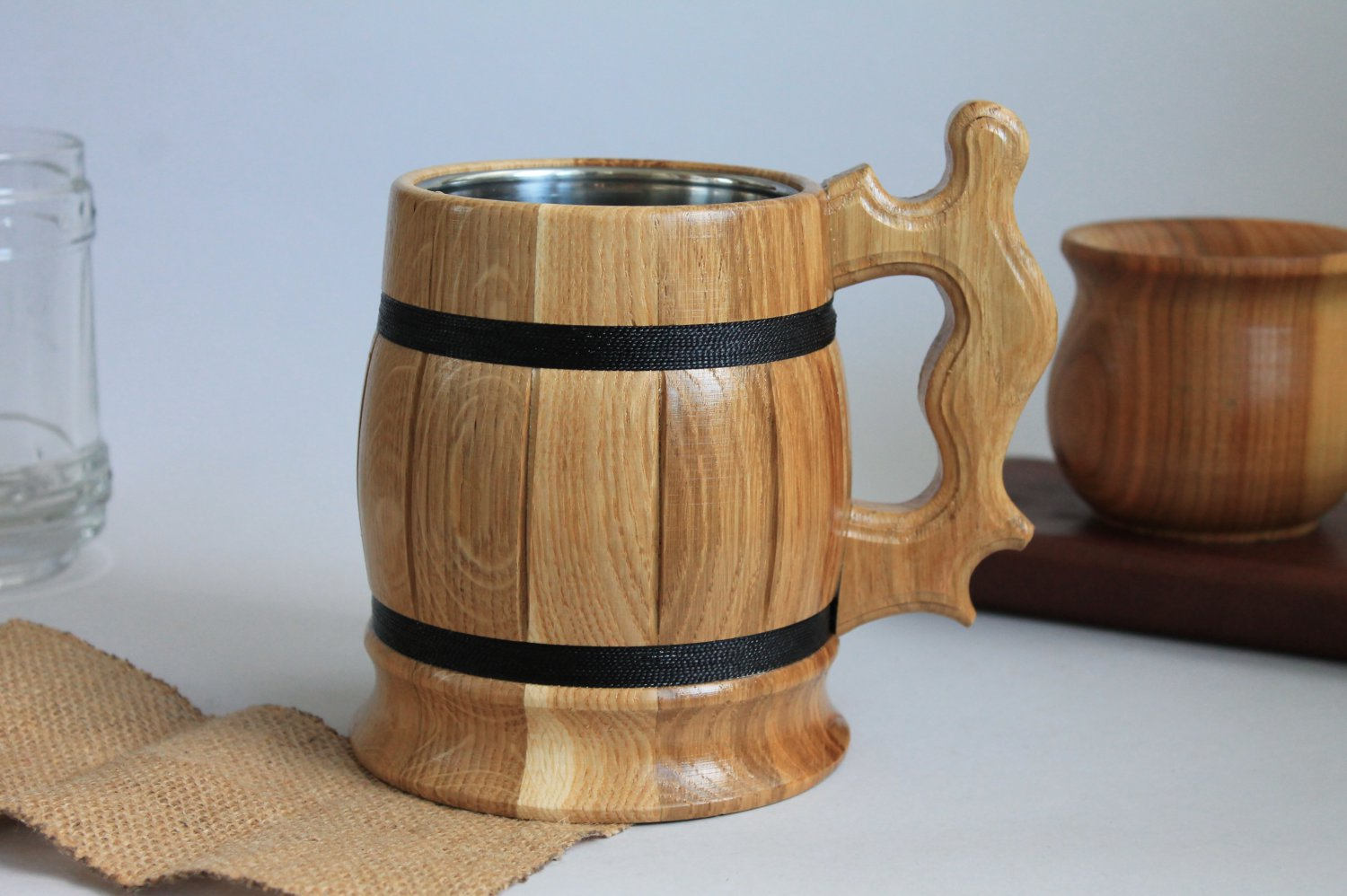 Large exclusive Wooden beer mug with stainless steel cup inside