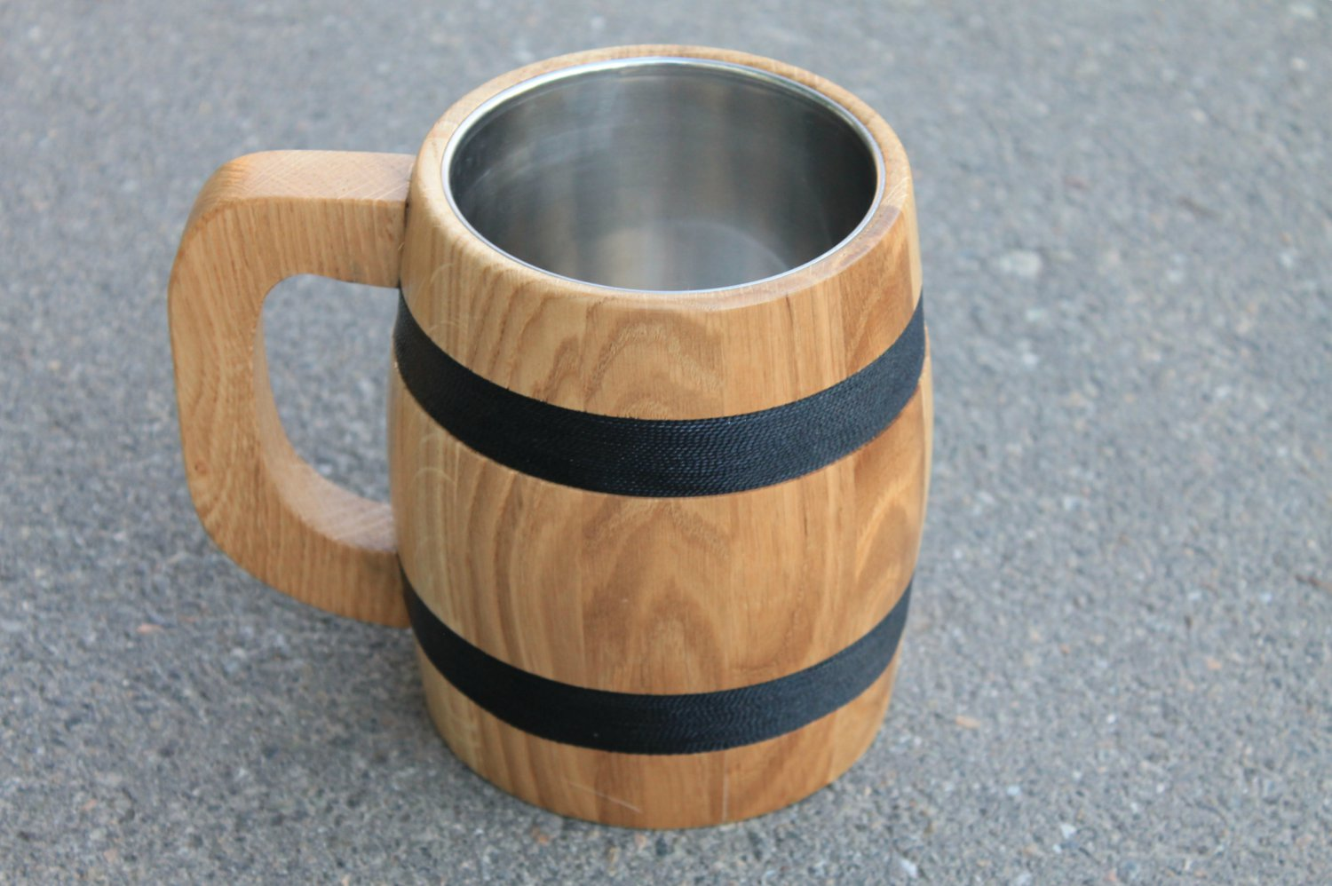 Large Beer Mug with Metal Inside Made of Wood Eco Friendly
