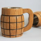 Large Beer Mug with Metal Inside Made of Wood Eco Friendly Oak, Mug for the Best Man Gift