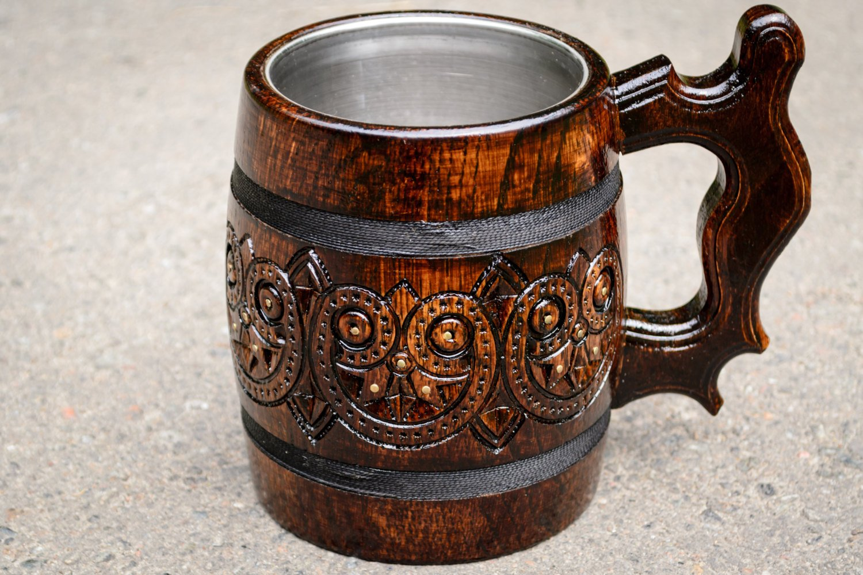 Carved wooden beer mug exclusive beer mug Hand work