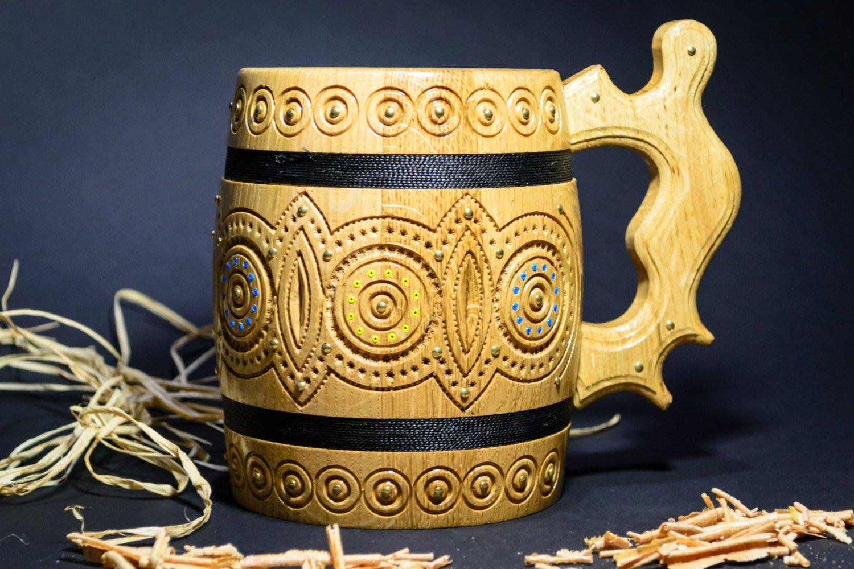 Wooden beer mug carved mug handmade mug wooden tankard