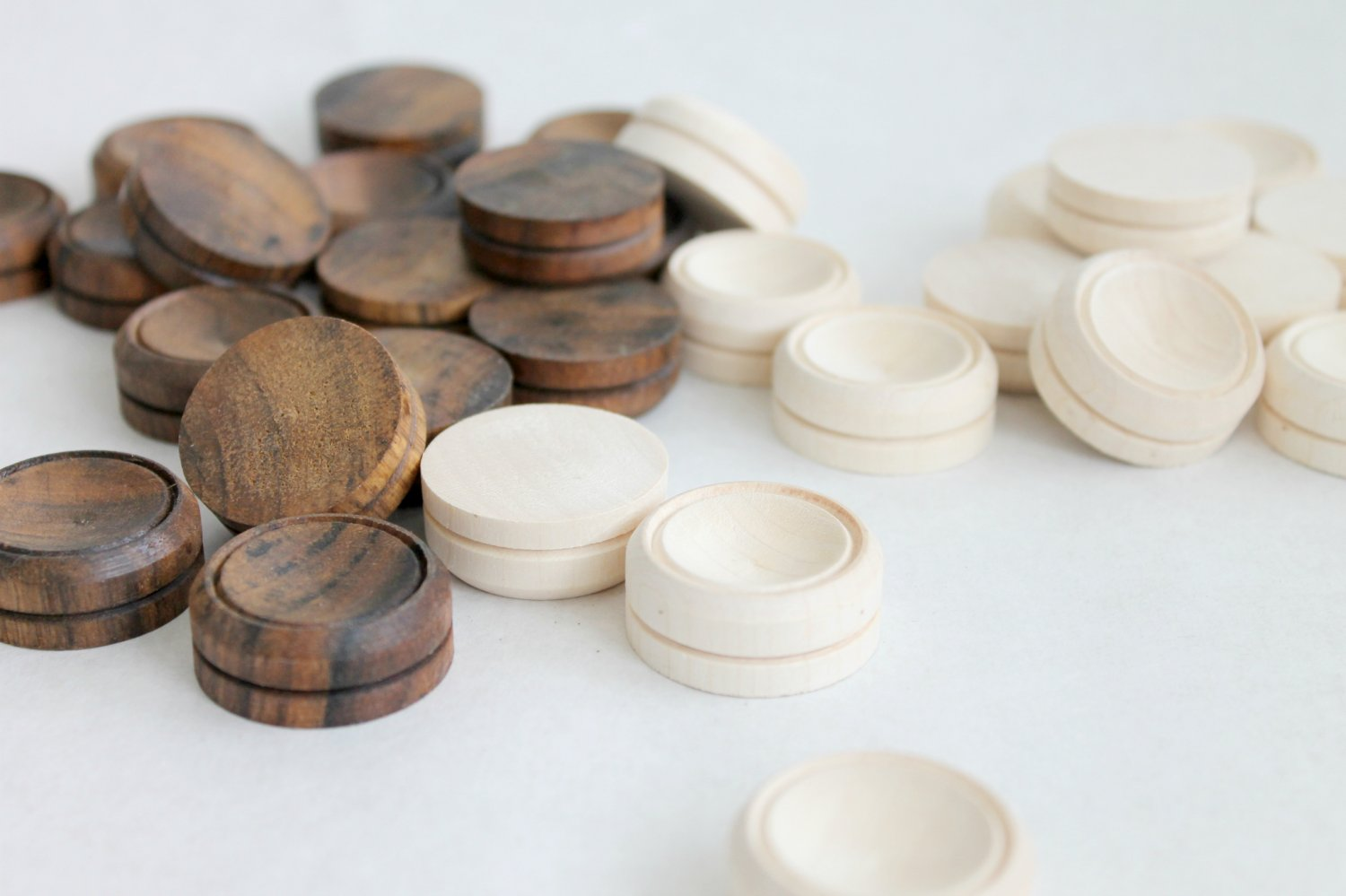 Carved wooden checkers Wood Checkers Games Wood Checkers Handmade
