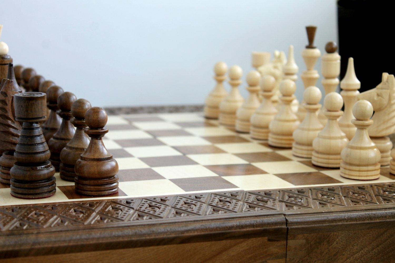 Wooden handmade board game set (chess, backgammon, checkers)