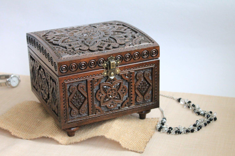 Hand Carved Wooden Jewelry Trinket Box Keepsake Storage Organizer