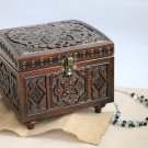 Hand Carved Wooden Jewelry Trinket Box Keepsake Storage Organizer