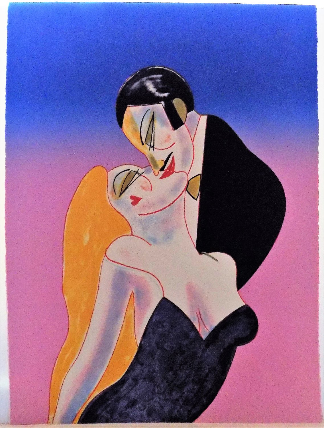 "Earl Linderman 1981 Lithograph ""Slow Kiss"", 30"" x 22"" Unframed"