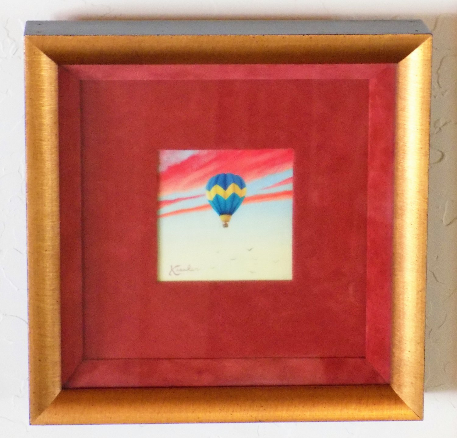 "Mark J. Kessler ""Soaring"" Trompe L'oeil Miniature Oil Painting, Custom Framed/Matted"