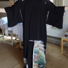 Vintage Silk Crepe Kuro Tomesode Kimono, Handpainted, Dyed & Embroidered, c. 1950's