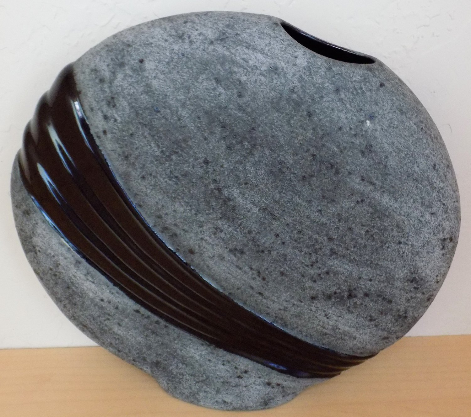 "Vintage Pottery Pillow Vase in Black & Gray by ""Vases of the Heart"" (1997)"