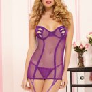 Purple See Through Mesh Garter Lingerie