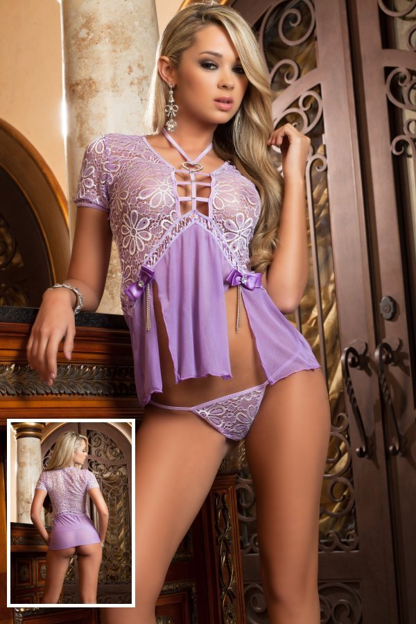 Sexy Split Lace Floral Embroidered Babydoll