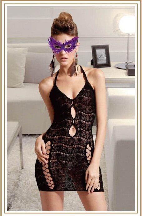 Valentine's Halter Neck Dress With Wavy Lace Design
