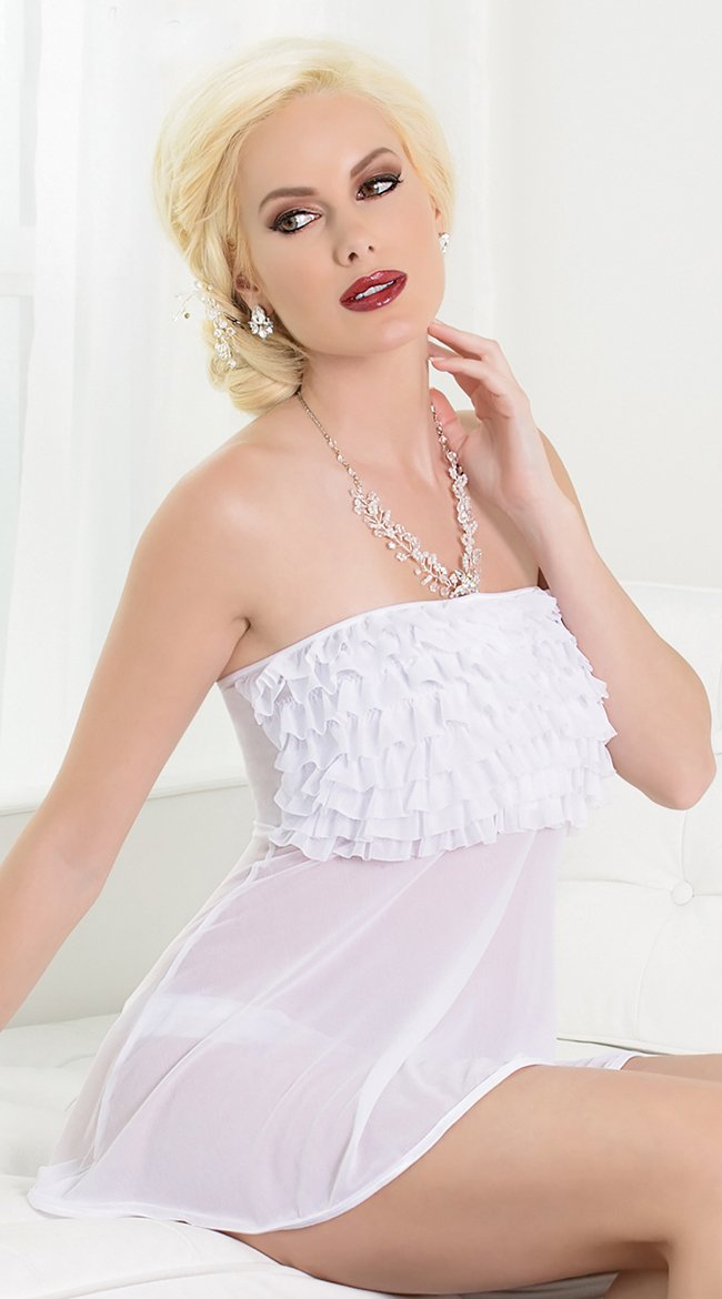 Sleeveless And Strapless Ruffled Babydoll