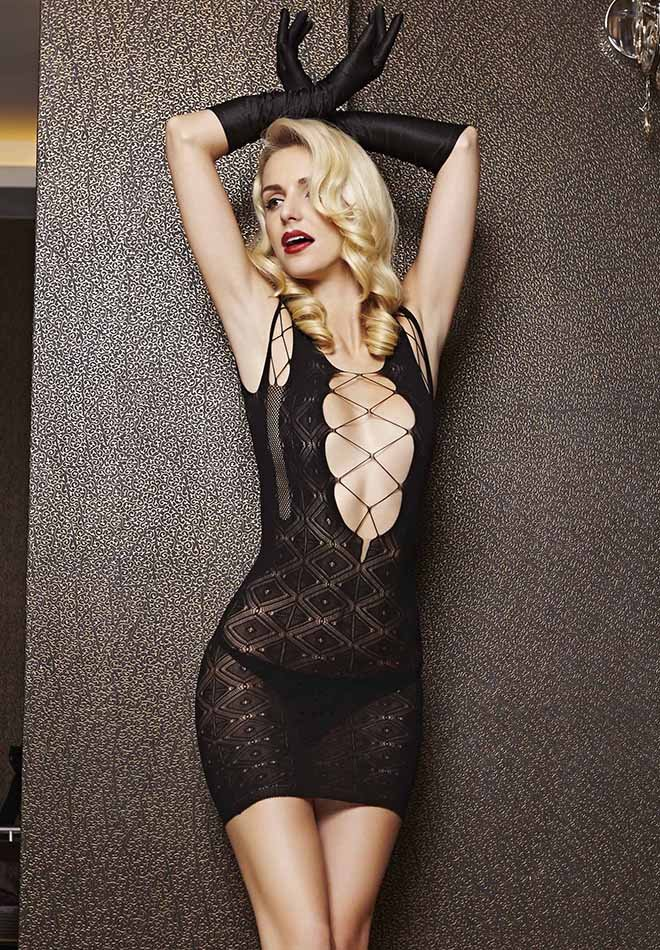 Black Hollow-out Mesh Chemise Dress