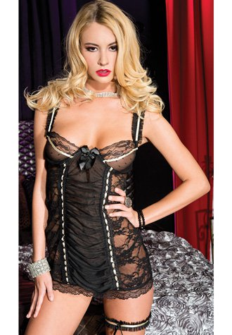Black Lace Chemise With Buckle And Lace-up Back