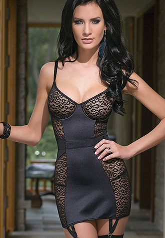 Alluring Dress with Garter and Stretch Straps