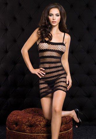 Diamond Net Mini Dress With Stripes