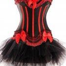 Black Red Sensational Ruffles Trimmed Fashion Bustier Corset with Tutu Skirt