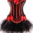 Black Red Sensational Ruffles Trimmed Fashion Bustier Corset with Tutu Skirt